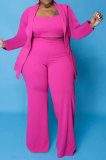 Neon Pink Euramerican Women Pure Color Button Condole Belt Tank Long Sleeve Coat Loose Three Pieces Plus Pants Sets PH13247-1