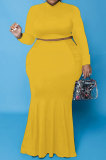 Orange Euramerican Autumn Sexy Dew Waist Long Sleeve Stand Collar Pure Color Mid Waist Plus Skirt Sets PH13243-4