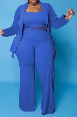 Royal Blue Euramerican Women Pure Color Button Condole Belt Tank Long Sleeve Coat Loose Three Pieces Plus Pants Sets PH13247-4