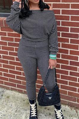 Black Women Euramerican Trendy Sexy Autumn Winter A Word Shoulder Tops Casual Pants Sets MR2119-1