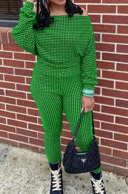 Green Women Euramerican Trendy Sexy Autumn Winter A Word Shoulder Tops Casual Pants Sets MR2119-7