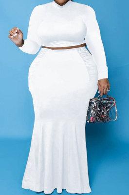 White Euramerican Autumn Sexy Dew Waist Long Sleeve Stand Collar Pure Color Mid Waist Plus Skirt Sets PH13243-2