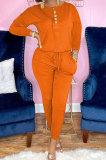 Orange Euramerican Women Autumn Fashion Sport Cotton Pure Color Pocket Pants Sets PH1241-3