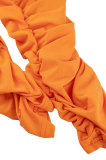 Orange Euramerican Women Sexy Strapless Ruffle Tied Pure Color Bodycon Jumpsuits MA6726-1