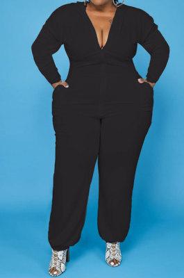 Black Women Pure Color Hooded Tops Long Sleeeve Zipper Pocket Plus Jumpsuit PH13248-2