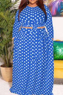 Blue Women Trendy Casual Long Sleeve Round Collar Printing Tied Plus Skirt Sets PH13249-3
