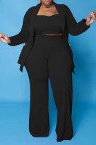 Black Euramerican Women Pure Color Button Condole Belt Tank Long Sleeve Coat Loose Three Pieces Plus Pants Sets PH13247-2