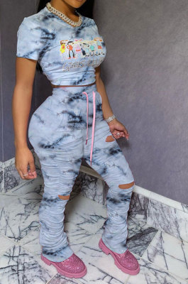 Gray HipRaise Bodycon Ruffle Printing Hole Casual Sport Bandage Pants Sets MY9629-3