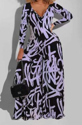 Black Euramerican Women Sexy V Collar Fashion Backless Stripe Printing Loose Plus Jumpsuit PY0835