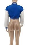 Lake Blue Euramerican Women Autumn Winter Printing Long Sleeve Cradigan Fashion Casual Short Jacket WSY5891-6