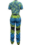 Green HipRaise Bodycon Ruffle Printing Hole Casual Sport Bandage Pants Sets MY9629-4