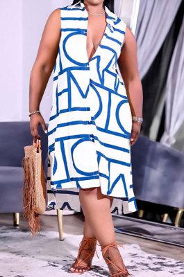 Blue Women Euramerican Fashion Printing Irregular Single-Breasted Sleeveless T Shirt/Shirt Dress MA6731-3