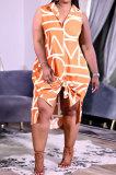 Orange Women Euramerican Fashion Printing Irregular Single-Breasted Sleeveless T Shirt/Shirt Dress MA6731-2