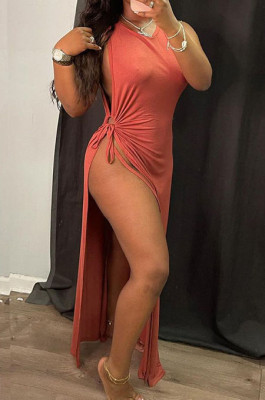 Russet-Red Solid Color Women High Waits Hollow Out Split Cross Trendy Sleeveless Long Dress MA6729-1