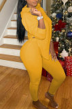 Yellow Women Hooded Tops Long Sleeve Solid Color Split Sport Pants Sets QHH8663-2