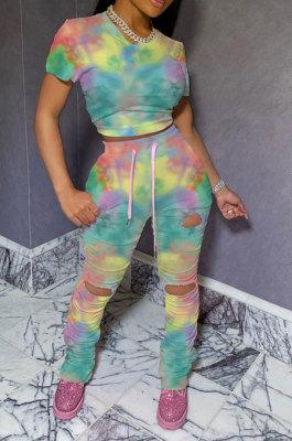 Yellow HipRaise Bodycon Ruffle Tie Dye Hole Casual Sport Bandage Pants Sets MY9629-2