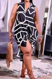 Black Women Euramerican Fashion Printing Irregular Single-Breasted Sleeveless T Shirt/Shirt Dress MA6731-1