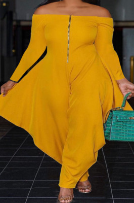 Yellow Euramerican Women Solid Color Sexy Zipper A Word Shoulder Loose Plus Jumpsuit PY0836