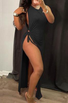 Black Solid Color Women High Waits Hollow Out Split Cross Trendy Sleeveless Long Dress MA6729-2