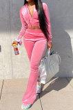 Pink Euramerican Women Korea Velvet Hooded Long Sleeve Zipper Solid Color Flare Leg Pants Sets NK264-1
