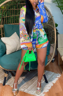 Green Women Single-Breasted Casual Digital Printing Long Sleeve Shirts Shorts Two-Pieces YZ7049