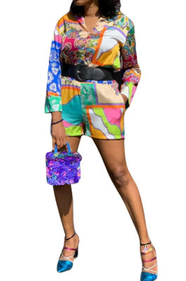 Purple Green Women Single-Breasted Casual Digital Printing Long Sleeve Shirts Shorts Two-Pieces YZ7044-1