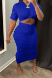 Blue Euramerican Women Solid Color Short Sleeve Round Collar Mid Waist Ruffle Midi Dress JR3640-4