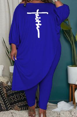 Blue Women Solid Color Loose Oblique Shoulder Positioning Embroidered Pants Sets WXY6610-4