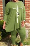 Green Autumn Winter Women Fashion Casual Plus Pants Sets WA77241-5