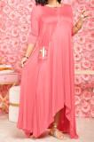 Red Euramerican Women Irregular Lower Hem Long Sleeve Pure Color Long Dress JR3642-1