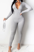 Gray Ribber Letter Embroidery Long Sleeve Zipper Slim Fitting Bodycon Jumpsuits QZ6115-9