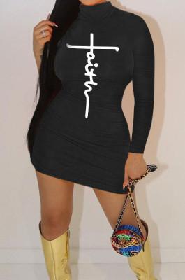 Black Women Long Sleeve Letters Printing Pure Color Mid Waist Mini Dress YBS86733-2