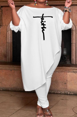 White Women Solid Color Loose Oblique Shoulder Positioning Embroidered Pants Sets WXY6610-2