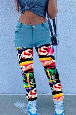 Light Blue Print Spliced Mid Waist Jean Shift Pants LSZ9058-1