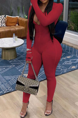 Wine Red Ribber Letter Embroidery Long Sleeve Zipper Slim Fitting Bodycon Jumpsuits QZ6115-6