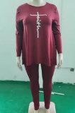 Wine Red Autumn Winter Women Fashion Casual Plus Pants Sets WA77241-1