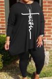 Gray Autumn Winter Women Fashion Casual Plus Pants Sets WA77241-2