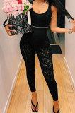 Black Autumn Lace Spliced Collect Waist Bodycon HipRaise Pencil Pants BLG44970-2