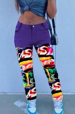 Purple Print Spliced Mid Waist Jean Shift Pants LSZ9058-3