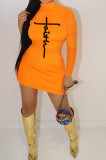 Orange Women Long Sleeve Letters Printing Pure Color Mid Waist Mini Dress YBS86733-3