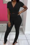 Black Women Ribber Short Sleeve V Collar Tied Solid Color Split Pants Sets JR3643-1