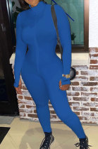 Blue Ribber Letter Embroidery Long Sleeve Zipper Slim Fitting Bodycon Jumpsuits QZ6115-3