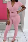 Pink Women Ribber Short Sleeve V Collar Solid Color Tied Split Pants Sets JR3643-2
