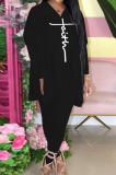 Black Euramerican Women Autumn Winter Fashion Sexy Solid Color V Collar Printing Pants Sets YBS86735-1