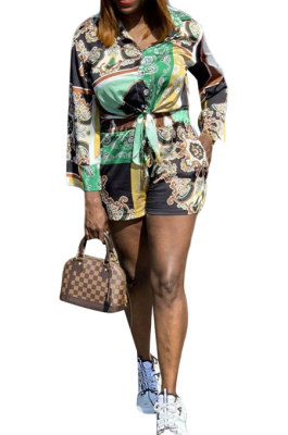 Black Women Single-Breasted Casual Digital Printing Long Sleeve Shirts Shorts Two-Pieces YZ7044-2