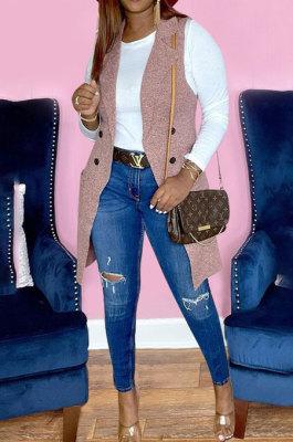 Drak Pink Simple Pure Color Lapel Neck Sleeveless Jacket Coat LSZ91190-2
