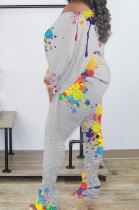 Gray Splash-Ink Print Long Sleeve Drawsting Loose Top Ruffle Pants Sets OEP6309-3