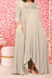 Khaki Euramerican Women Irregular Lower Hem Long Sleeve Pure Color Long Dress JR3642-2