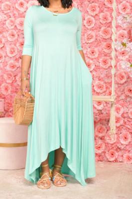 Blue Euramerican Women Irregular Lower Hem Long Sleeve Pure Color Long Dress JR3642-3