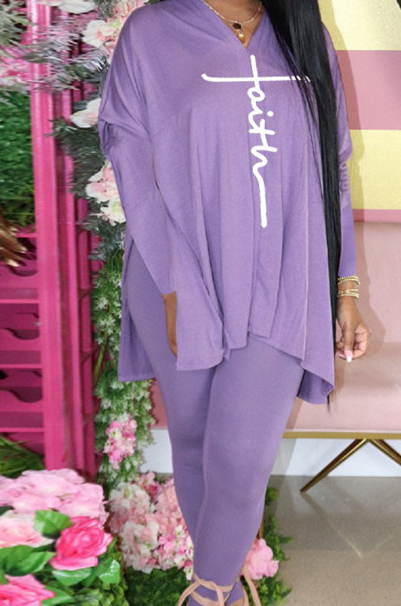 Purple Euramerican Women Autumn Winter Fashion Sexy Solid Color V Collar Printing Pants Sets YBS86735-2